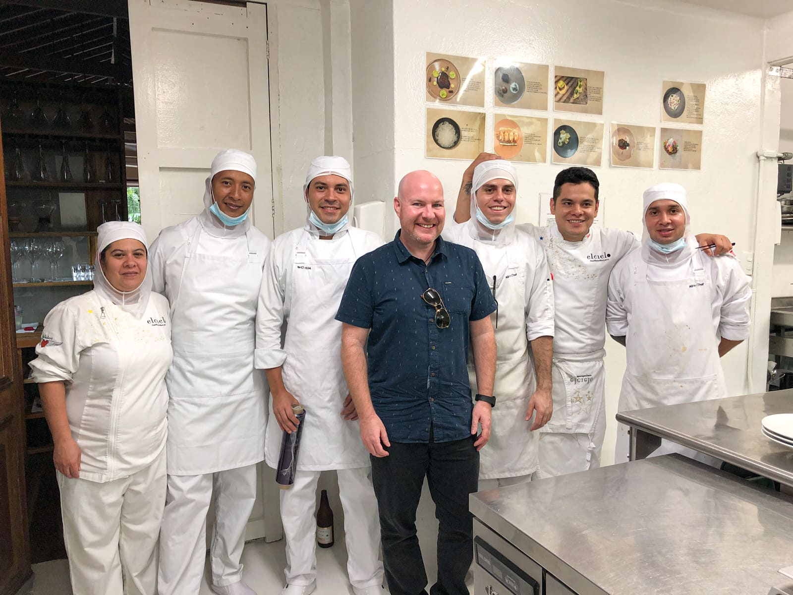 Thanking the chefs at El Cielo restaurant in Medellín, Colombia