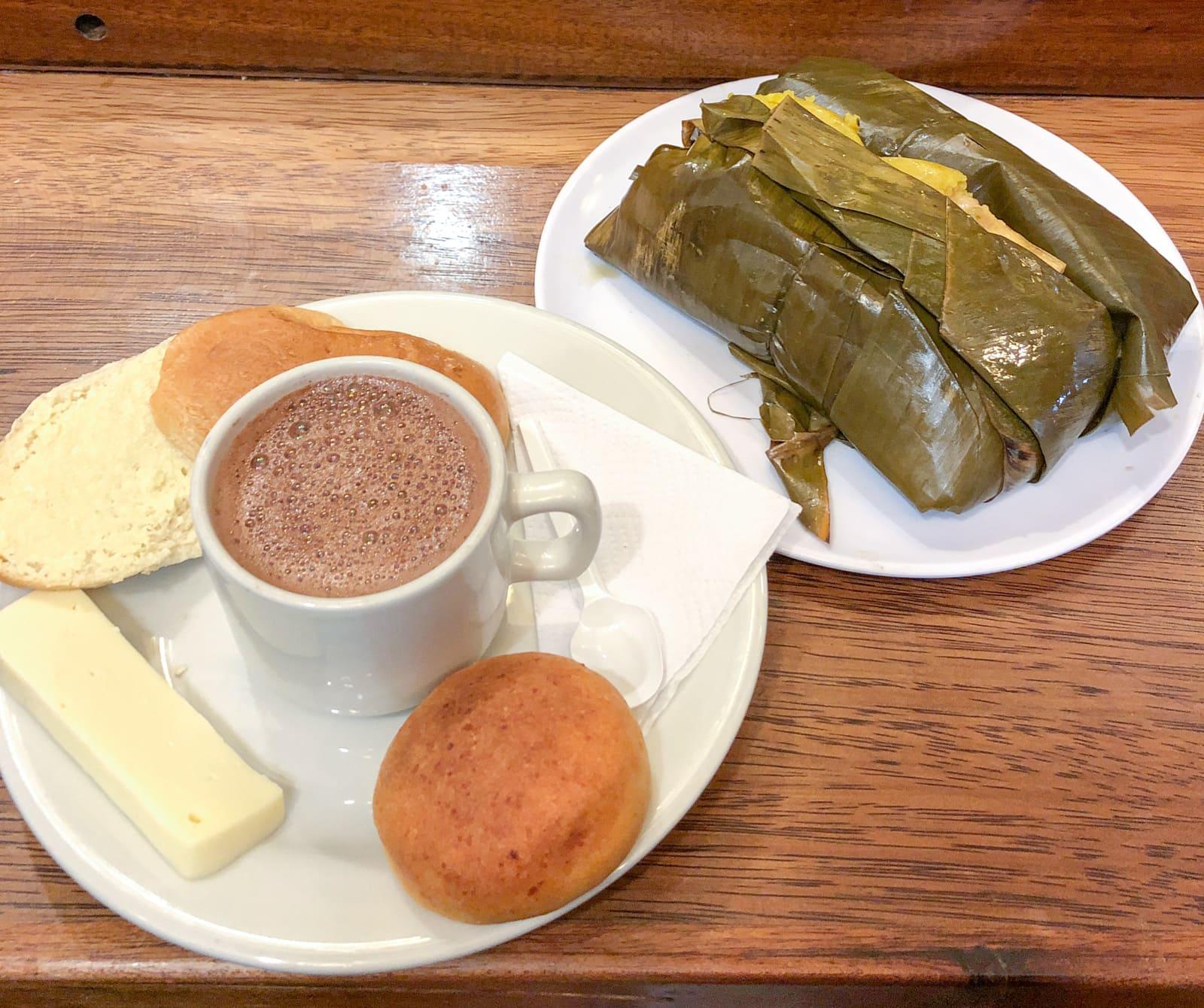 Hot chocolate and cheese, tamale at La Puerta Falsa