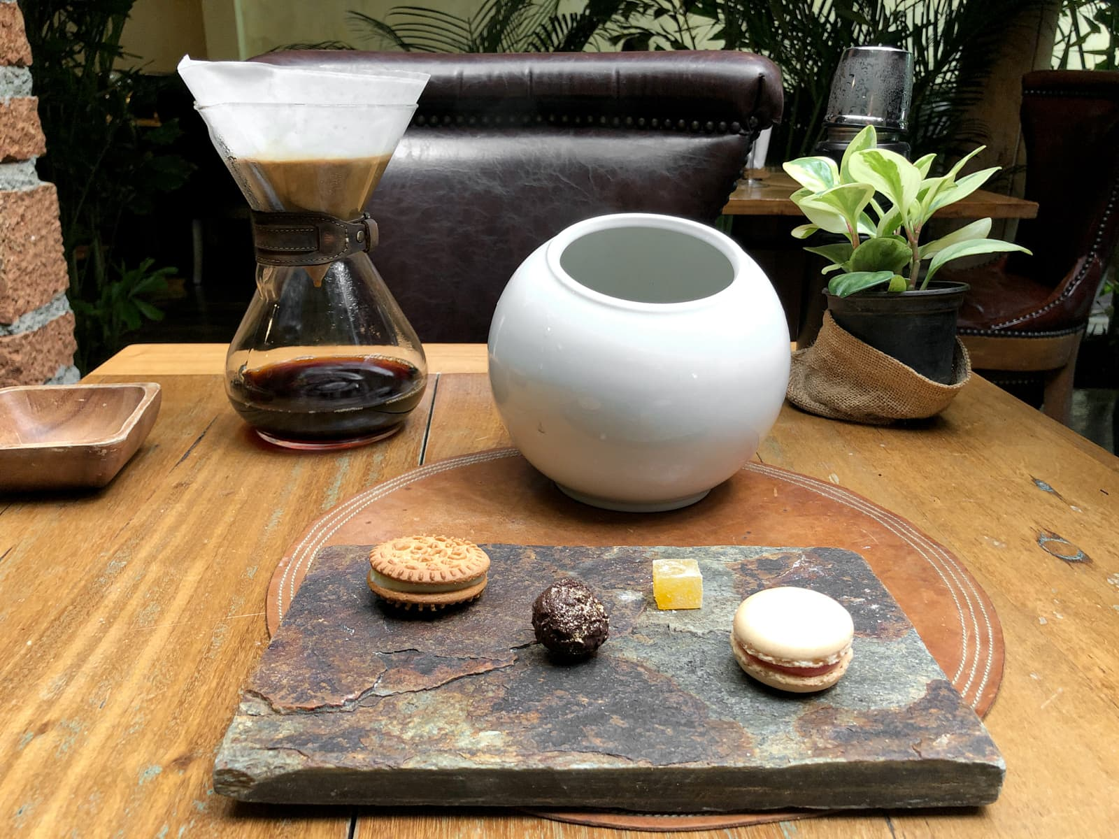 Petit fours and pour over coffee