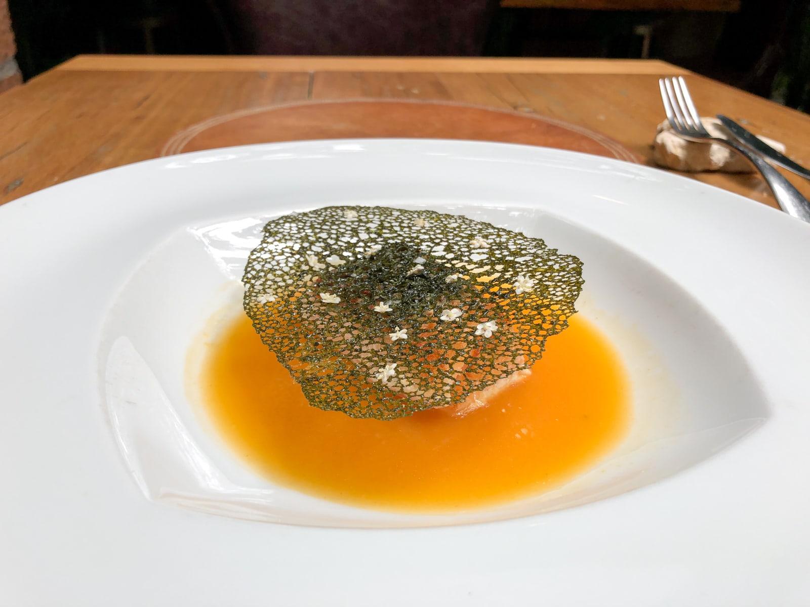 Salmon with tropical fruit sauce