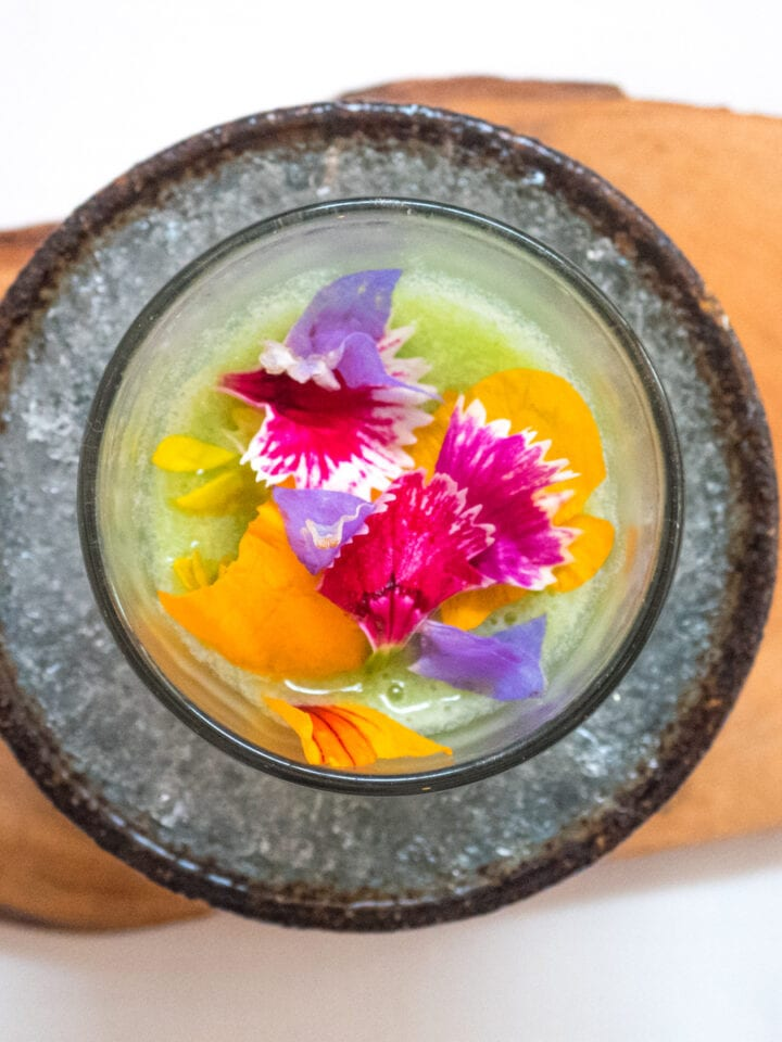Cactus milk, retama petals at Central Restaurante in Lima, Peru