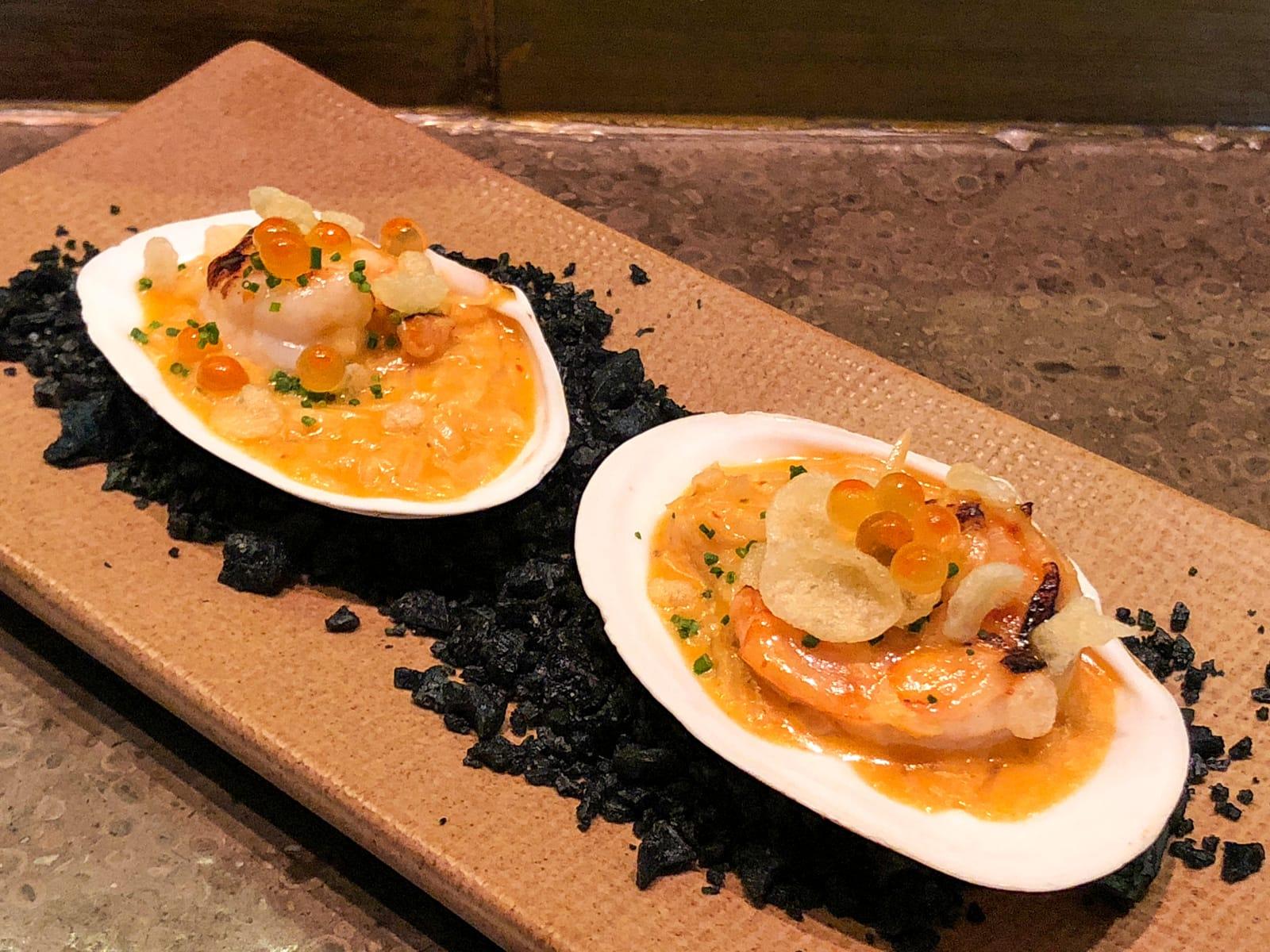 Grilled shrimp, leek, red curry