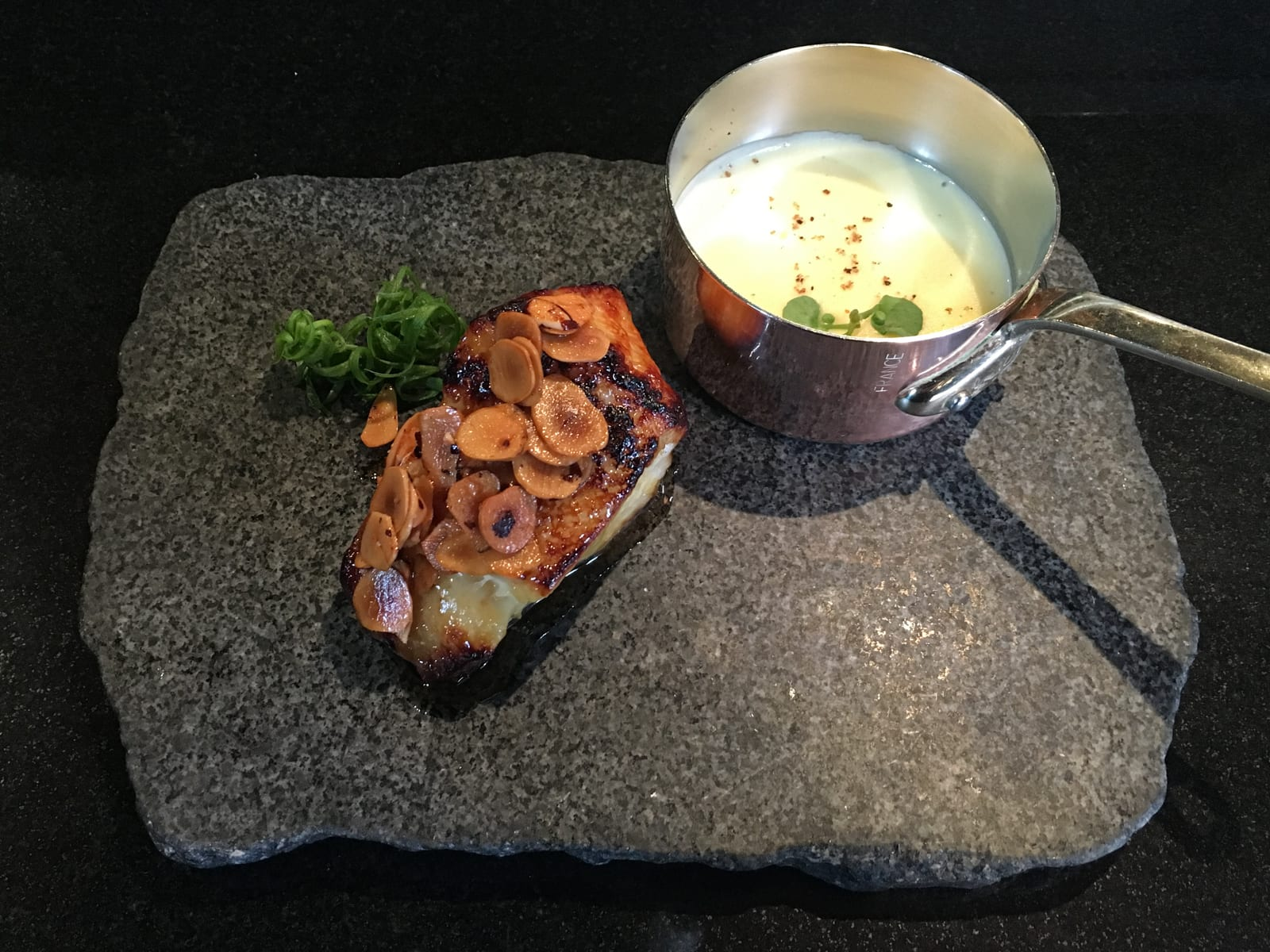 Cod marinated in miso with potato cream at Maido, the best restaurant in Lima, Peru