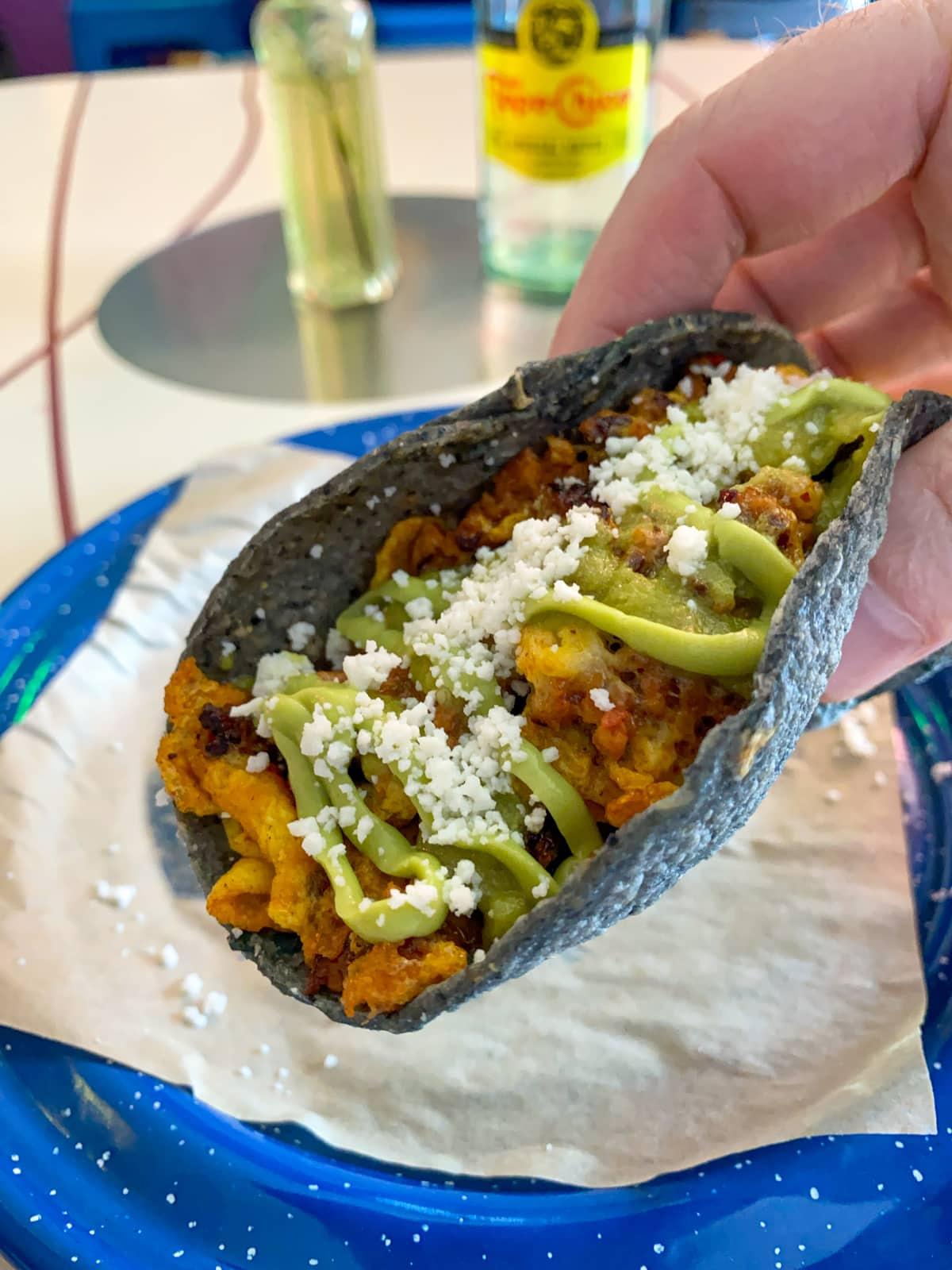 Chorizo breakfast taco at Nixta Taqueria