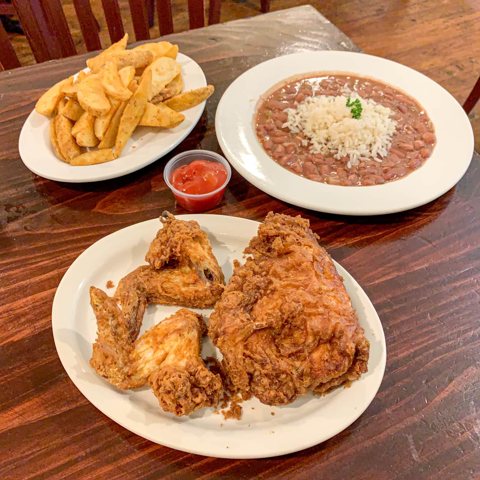 Willie Mae's fried chicken, red beans and rice, fries
