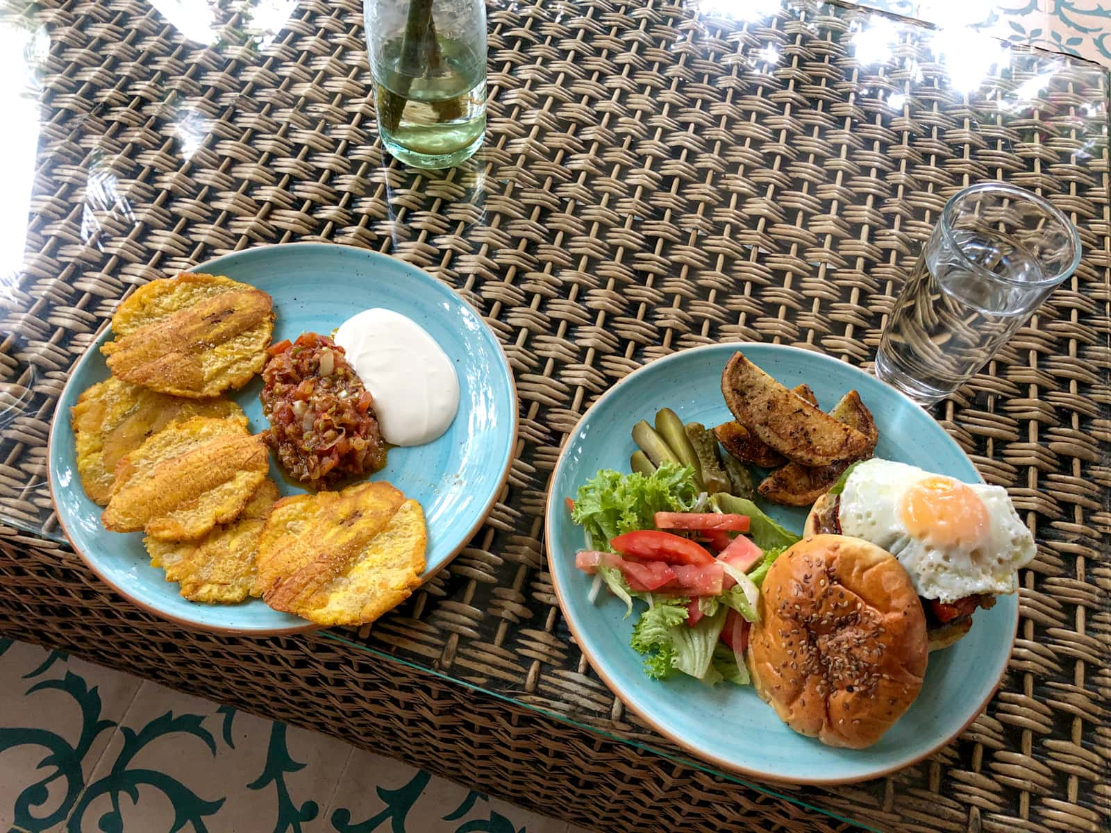 Patacones (fried plantains) and a burger