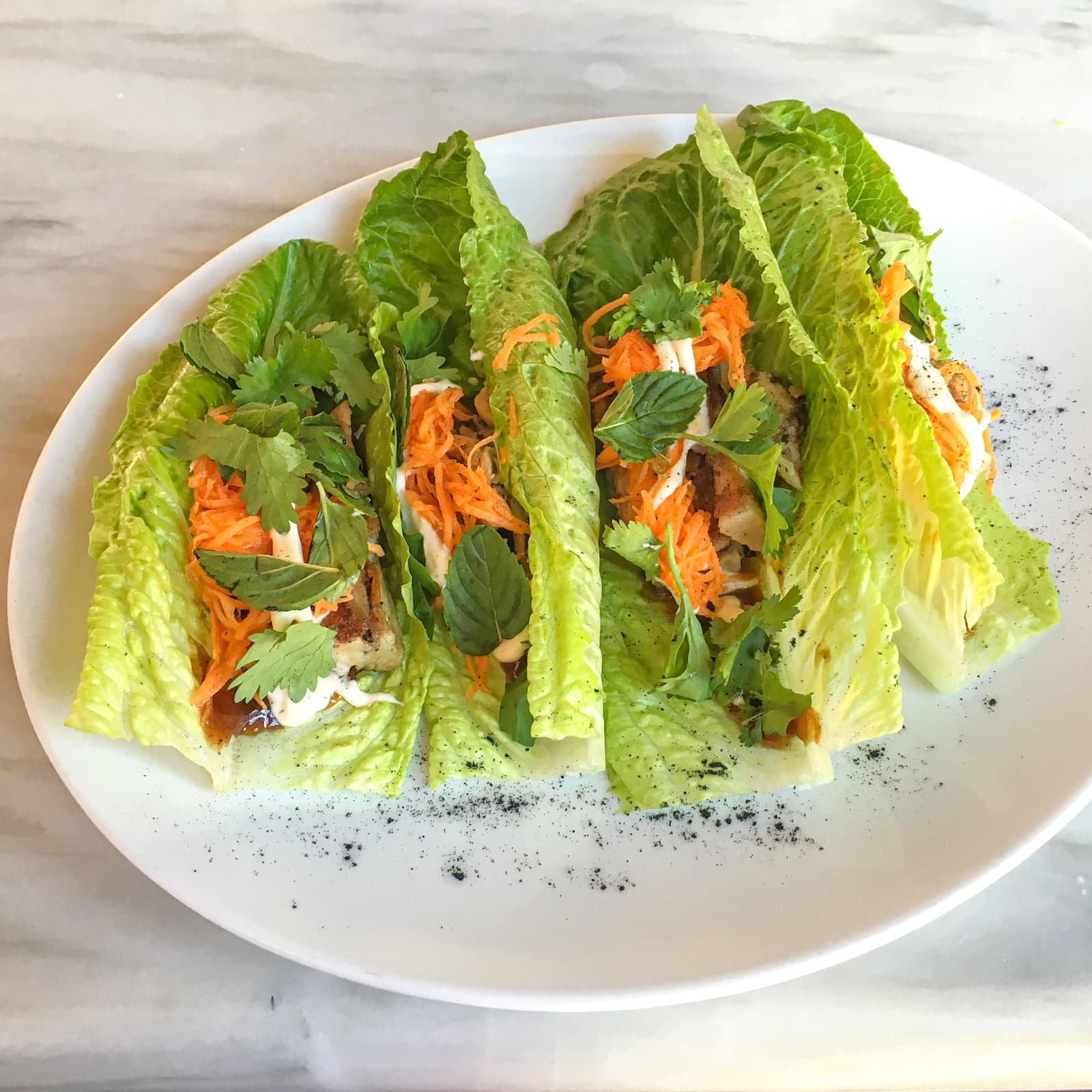 Lettuce tacos with duck