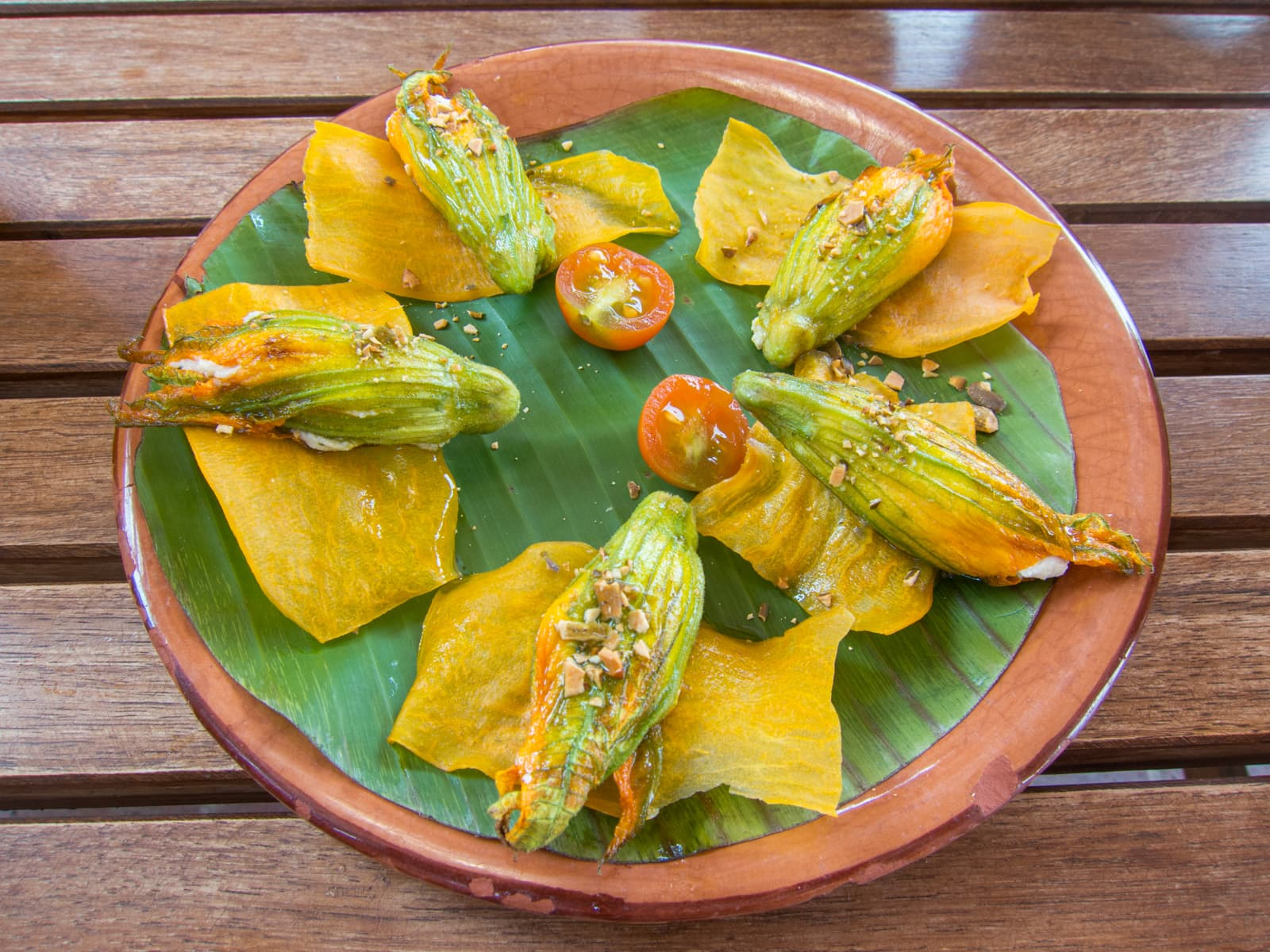 Ricotta-filled squash blossoms at Casa Oaxaca