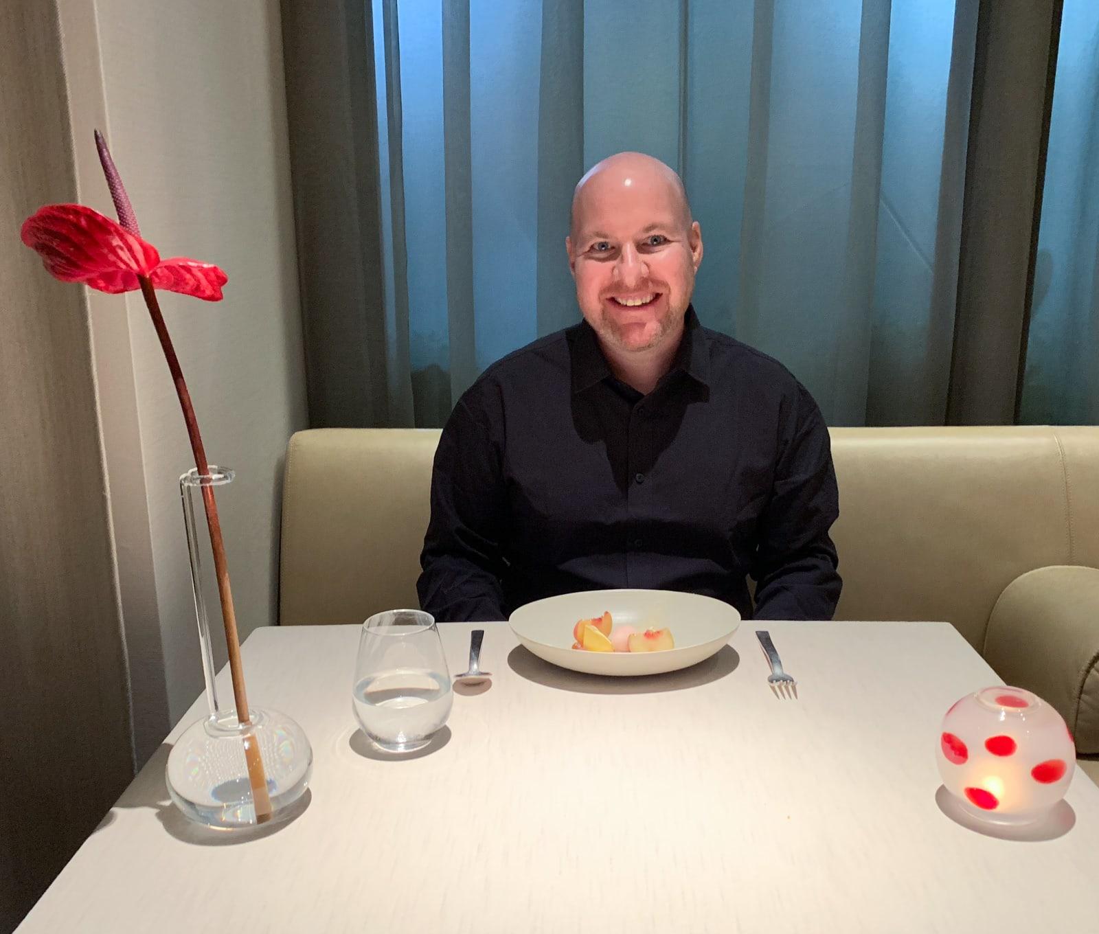 Eating alone at VUN Andrea Aprea in Milan, Italy