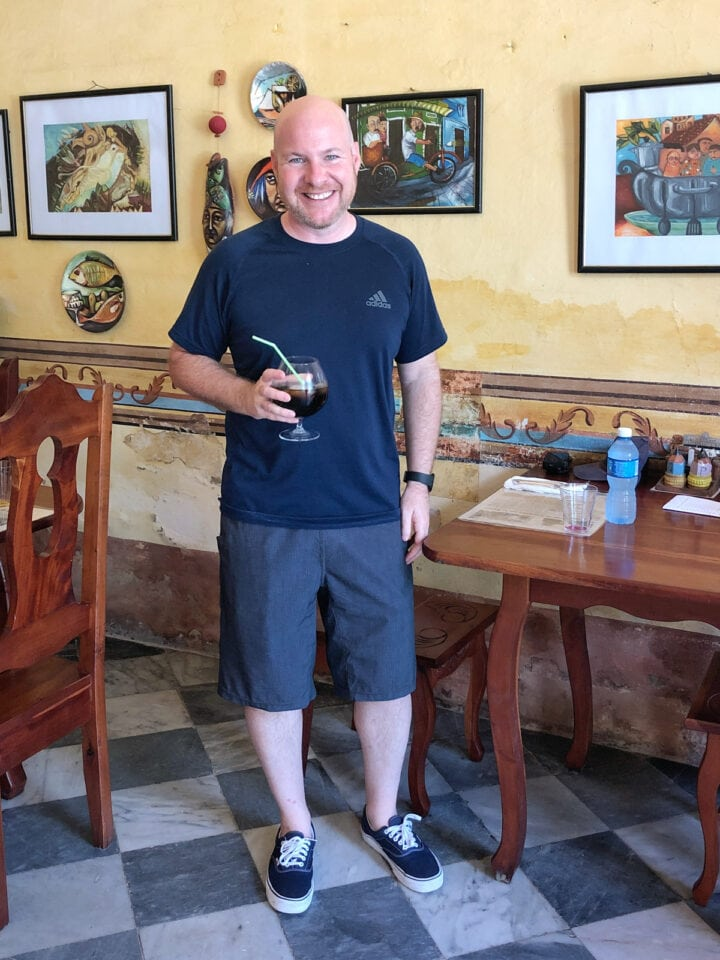 Dave eating alone in Trinidad, Cuba
