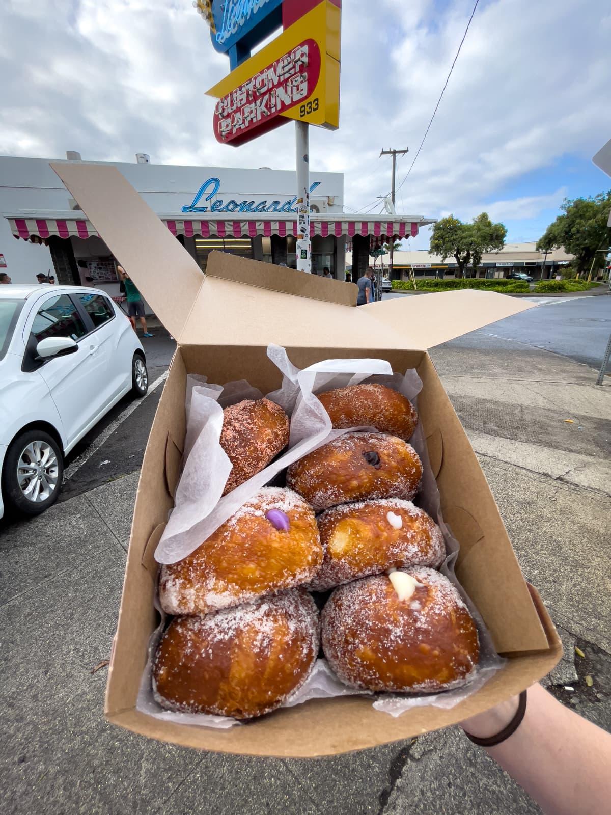 Various Hawaiian doughnuts, aka Portuguese doughnuts or malasadas