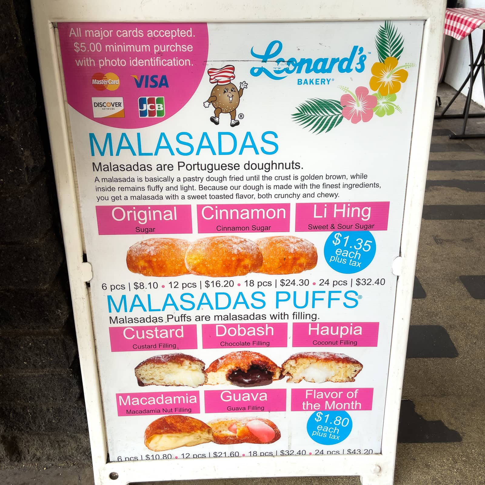 The malasada menu at Leonard's