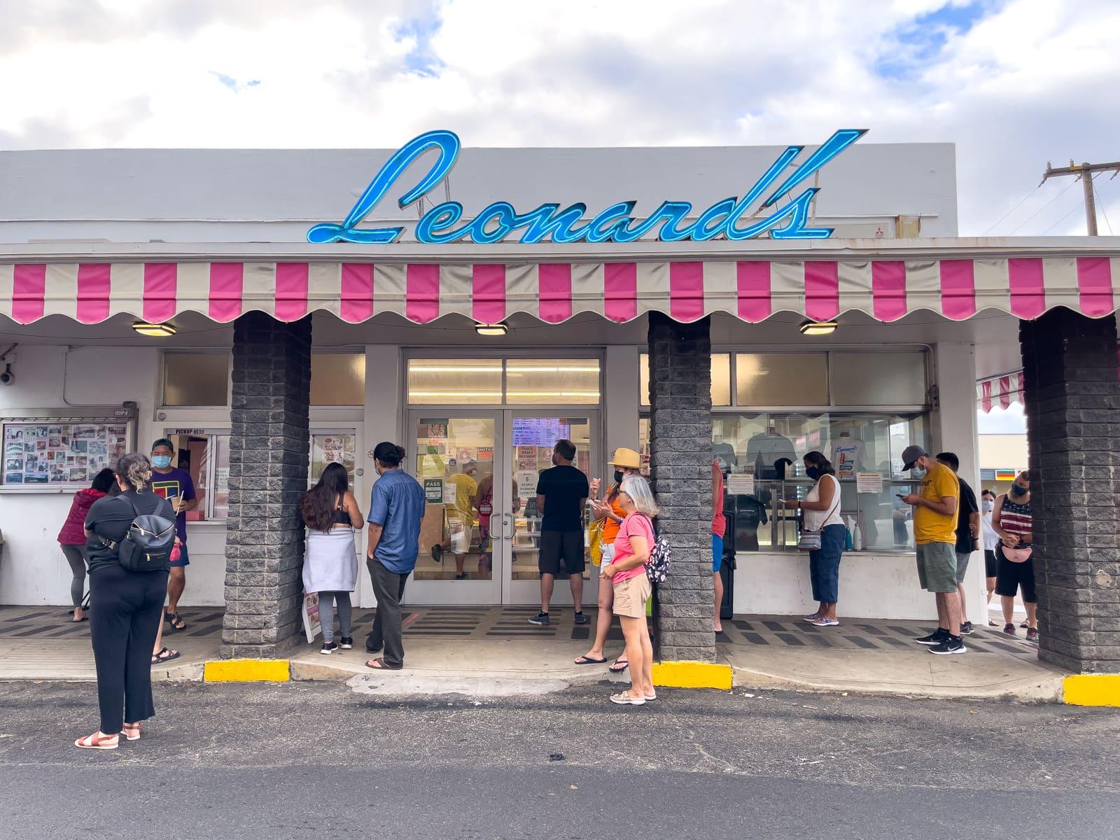 Early morning scene outside Leonard's in Honolulu