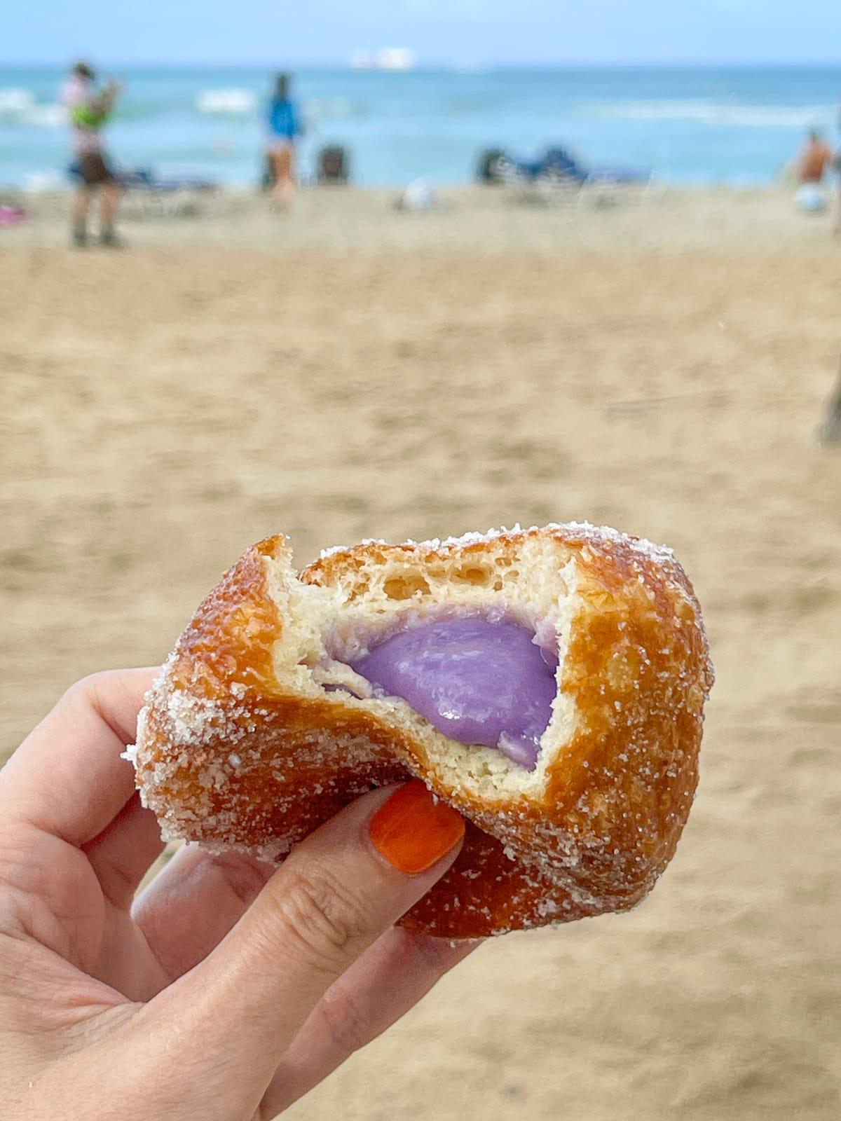 Yam Hawaiian doughnut on Waikiki Beach