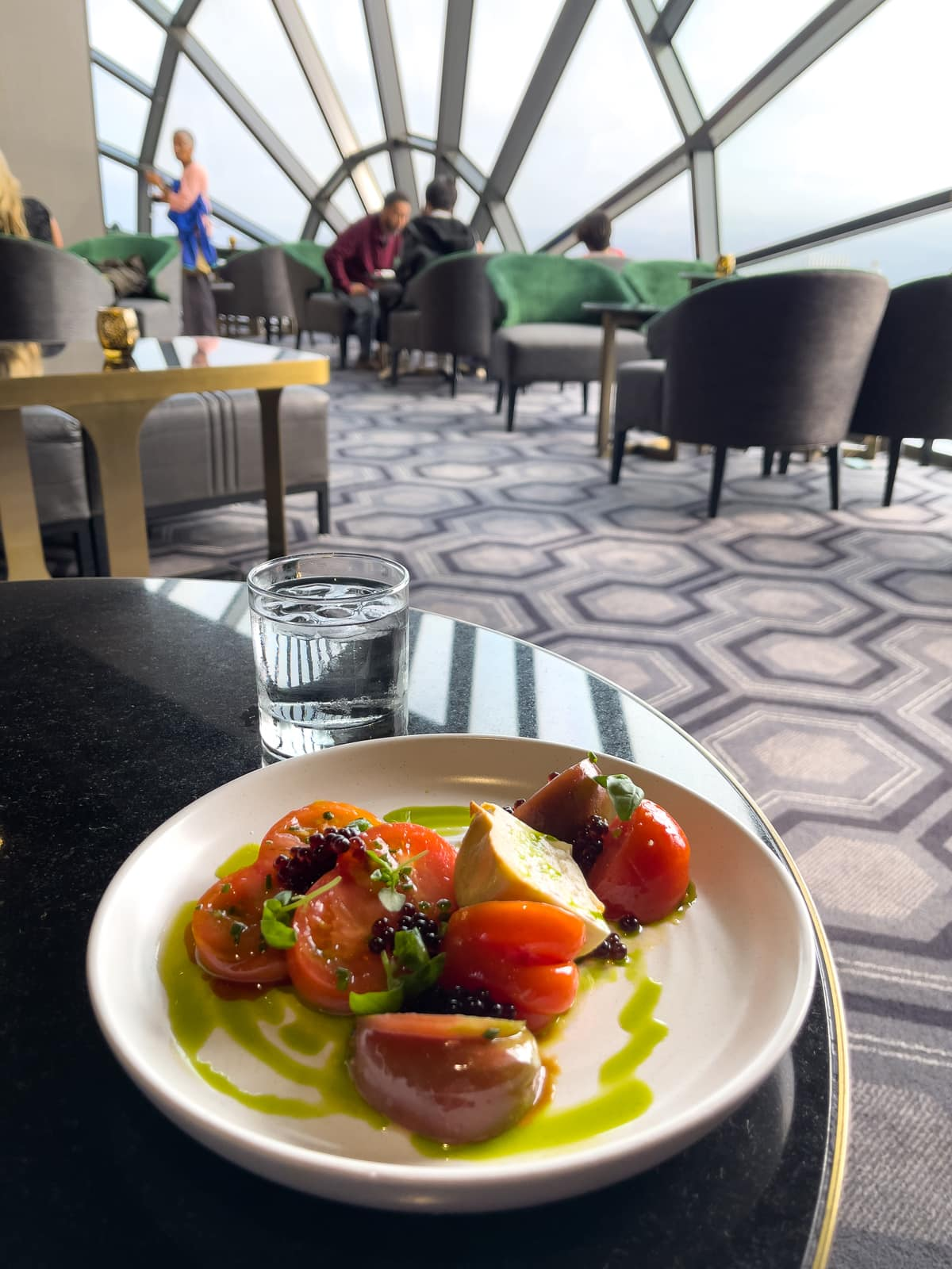 Tomato burrata salad at The View Lounge, San Francisco