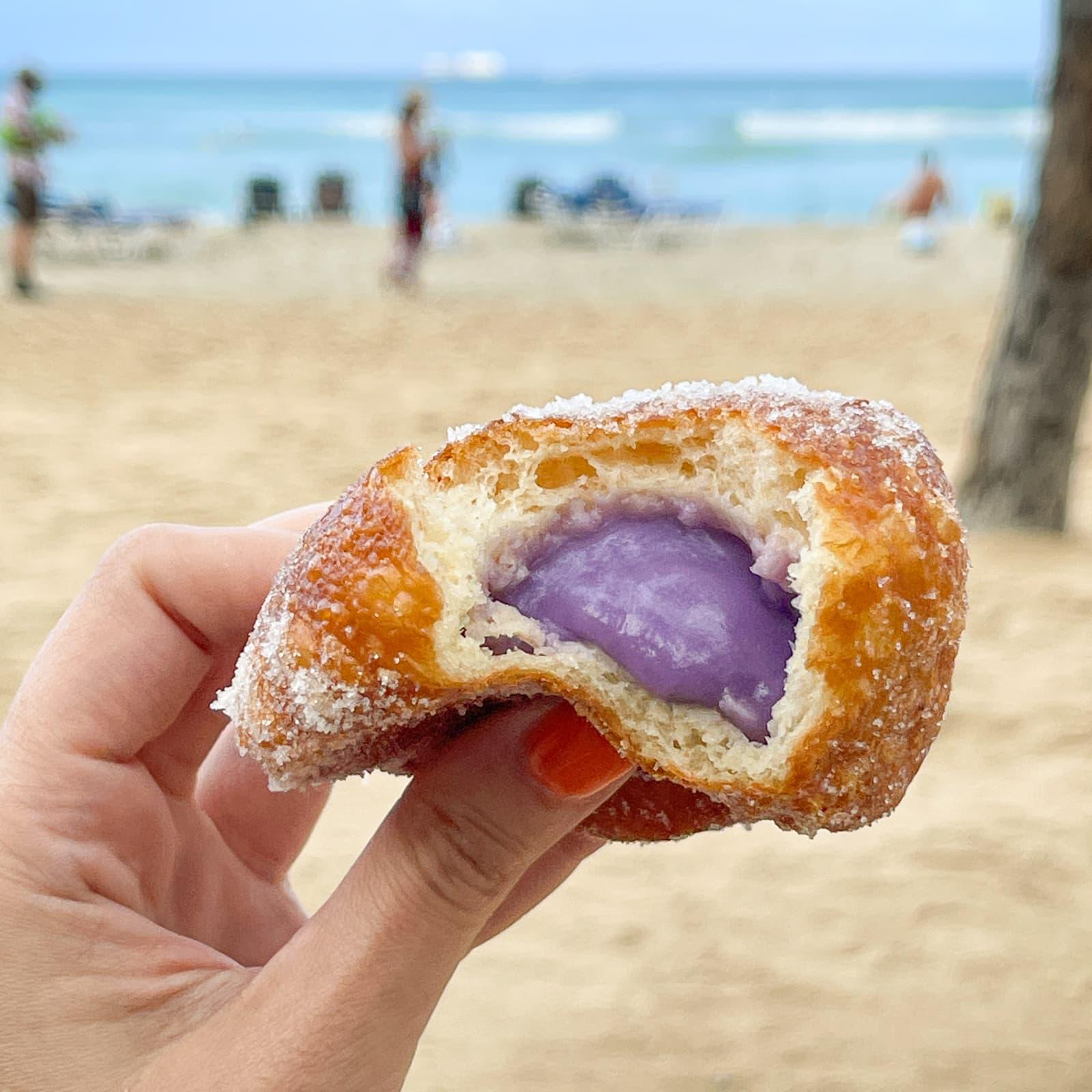 Hawaiian doughnut (yam malasada) from Leonard's Bakery